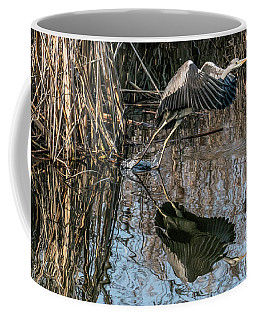 Coffee Mug featuring the photograph Gray Heron Flew Up by Odon Czintos