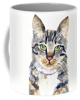 Gray Tabby Cat Watercolor Coffee Mug
