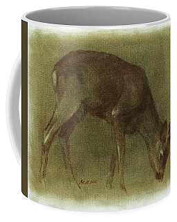 Grazing Roe Deer Oil Painting Coffee Mug