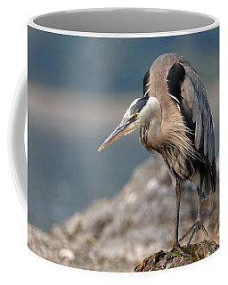 Great Blue Heron At The Ready Coffee Mug