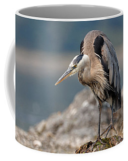 Great Blue Heron At The Ready Coffee Mug