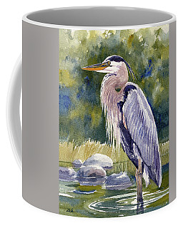 Great Blue Heron In A Stream Coffee Mug