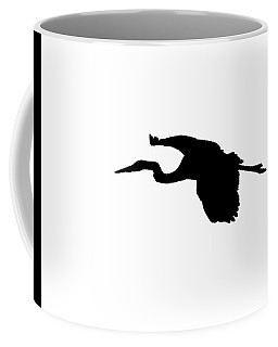 Great Blue Heron In Flight Silhouette Coffee Mug