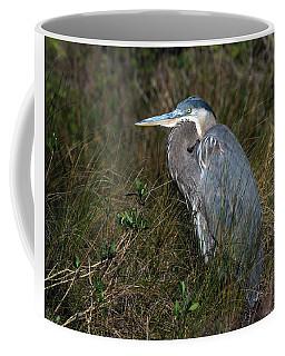 Great Blue Heron In The Grass Coffee Mug