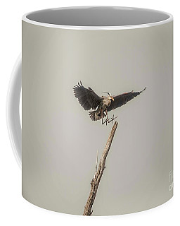 Coffee Mug featuring the photograph Great Blue Heron Landing by David Bearden