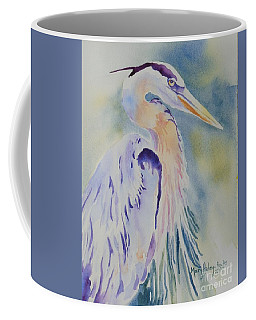 Coffee Mug featuring the painting Great Blue Heron by Mary Haley-Rocks