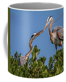 Great Blue Heron Nest Building Coffee Mug