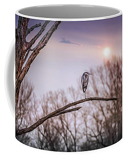 Great Blue Heron On A Dead Tree Branch At Sunset Coffee Mug