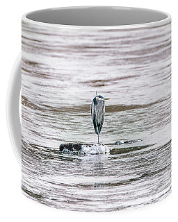 Great Blue Heron On A Frozen Lake Coffee Mug