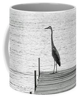 Great Blue Heron On Dock - Keuka Lake - Bw Coffee Mug