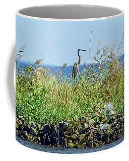 Great Blue Heron On Jetty Coffee Mug