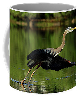 Great Blue Heron - Over Green Waters Coffee Mug
