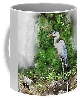 Great Blue Heron Watercolor Coffee Mug