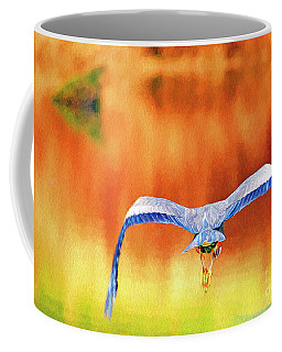 Coffee Mug featuring the digital art Great Blue Heron Winging It Photo Art by Sharon Talson