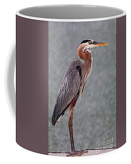 Great Blue In The Rain Coffee Mug