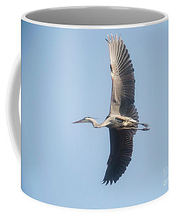 Coffee Mug featuring the photograph Great Blue On Final by David Bearden