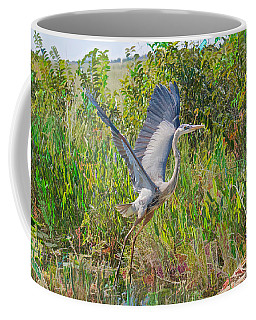 Great Blue On The Fly Abstract Coffee Mug