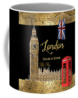 Great Cities London - Big Ben British Phone Booth Coffee Mug by Audrey Jeanne Roberts