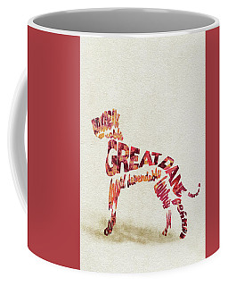 Coffee Mug featuring the painting Great Dane Watercolor Painting / Typographic Art by Ayse and Deniz