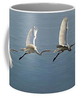 Great Egret Flight Sequence Coffee Mug