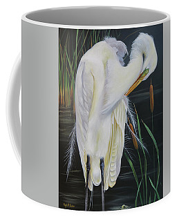 Great Egret In A Cattail Pond Coffee Mug