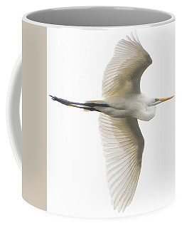 Great Egret In Flight Coffee Mug
