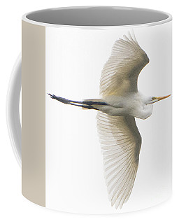 Great Egret In Flight Coffee Mug