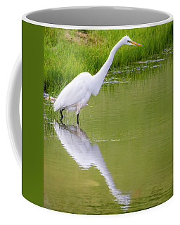 Coffee Mug featuring the photograph Great Egret Ready To Pounce by Ricky L Jones