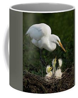 Great Egret With Chicks Coffee Mug