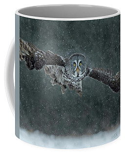 Great Gray Wintery Flight Coffee Mug by CR Courson