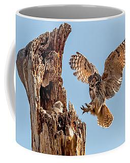 Great Horned Owl Returning To Her Nest Coffee Mug