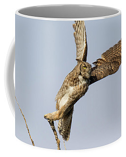 Great Horned Owl Spreads Its Wings Coffee Mug