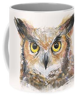 Great Horned Owl Watercolor Coffee Mug