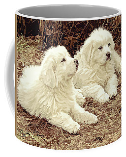 Coffee Mug featuring the digital art Great Pyranese Puppies2 by Bonnie Willis