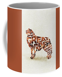Coffee Mug featuring the painting Great Pyrenees Watercolor Painting / Typographic Art by Ayse and Deniz