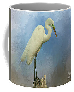 Great White Egret On Watch Coffee Mug by Myrna Bradshaw