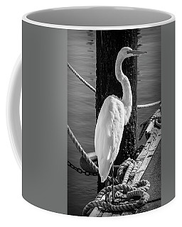Great White Heron In Black And White Coffee Mug