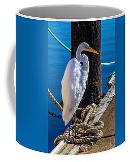 Great White Heron On Boat Dock Coffee Mug
