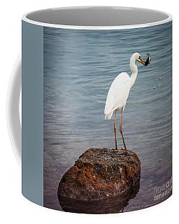 Great White Heron With Fish Coffee Mug