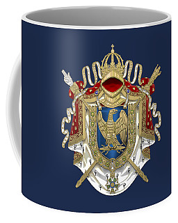 Greater Coat Of Arms Of The First French Empire Over Blue Velvet Coffee Mug