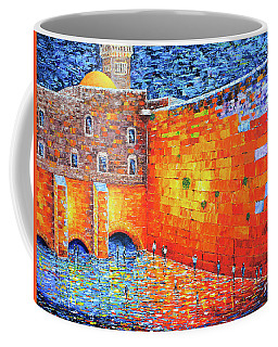 Coffee Mug featuring the painting Wailing Wall Greatness In The Evening Jerusalem Palette Knife Painting by Georgeta Blanaru