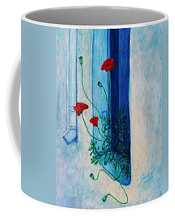Coffee Mug featuring the painting Greek Poppies by Xueling Zou