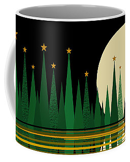 Coffee Mug featuring the digital art Green Abstract Reflected Landscape With Stars by Val Arie