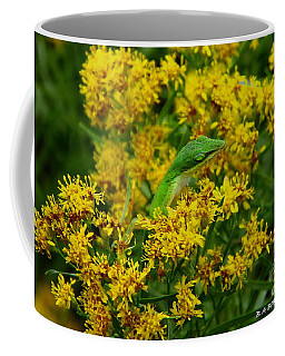 Green Anole Hiding In Golden Rod Coffee Mug