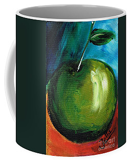 Coffee Mug featuring the painting Green Apple by Jolanta Anna Karolska