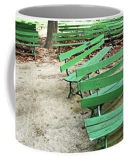 Green Benches- Fine Art Photo By Linda Woods Coffee Mug by Linda Woods