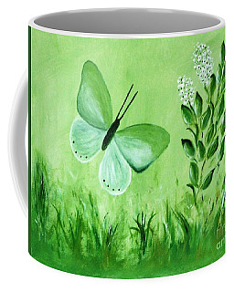 Coffee Mug featuring the painting Green Butterfly by Sonya Nancy Capling-Bacle