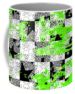 Green Checker Skull Splatter Coffee Mug