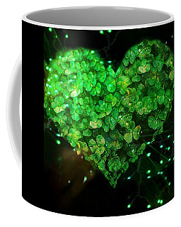 Green Clover Heart Coffee Mug