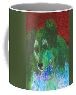 Coffee Mug featuring the painting Green Collie by Donald J Ryker III